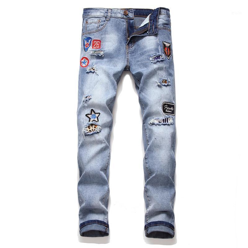 Männer Jeans Stickerei Freizeit Hosen Männlich Slim Fit Persönlichkeit Loch OEM Blue Gerade Zylinder Jeans Zi Männchen1