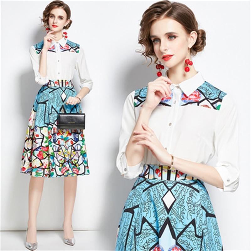 Ufficio Design camicetta Suits gonne e top con stampa floreale Top signore camicette vestito di affari per le donne Gonna