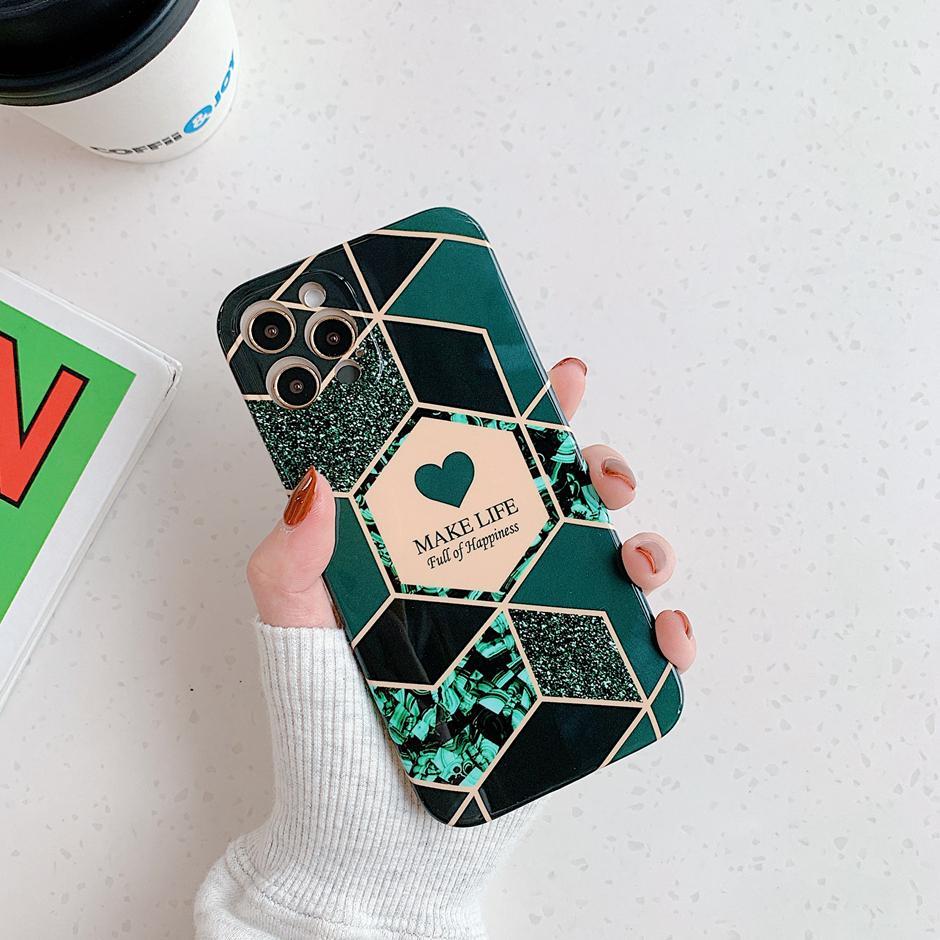 Coloration Marble Modèle Coque Téléphone pour iPhone 12 Mini iPhone 12 11 PRO Max iPhone XR XS 7 8 Plus Coffrets de téléphone cellulaire 360 Cas de protection