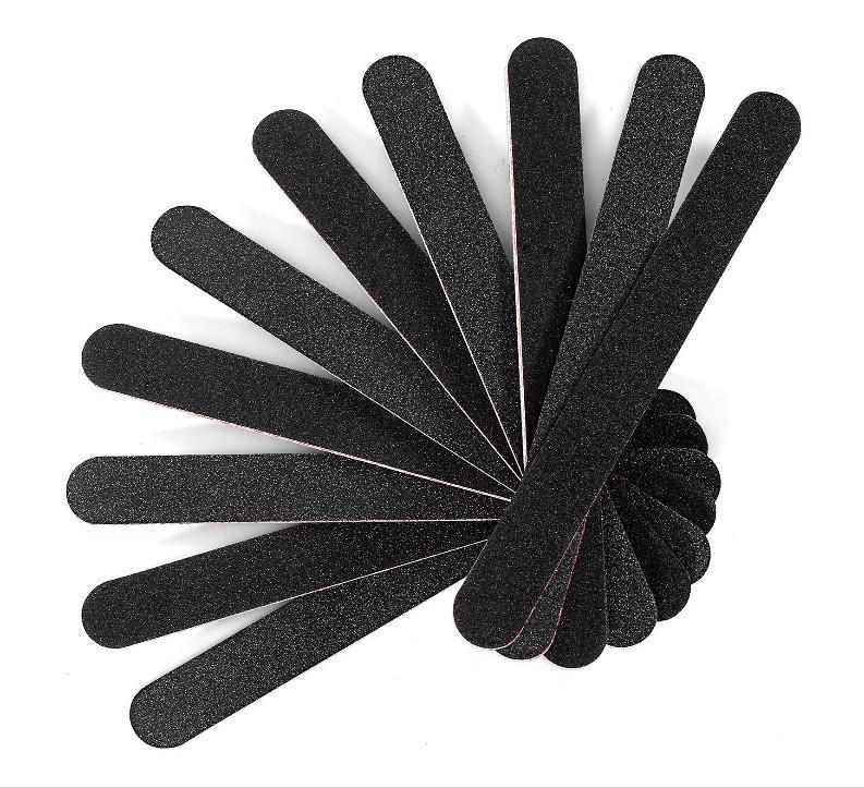 Fichier à ongles Emery Board Nail Care Double face 100 180 Grit Polygel Acrylique Dip Black Nail Tableau tamponnier Tool de pédicure de manucure professionnel