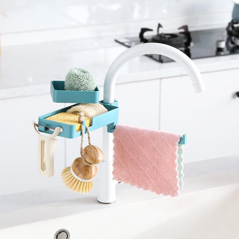 3 in 1 drehbare Wasserhahn Rack Regal Senke Seifenschwammhalter Abfluss Multi Layer Kitchen Supplies Lagerung