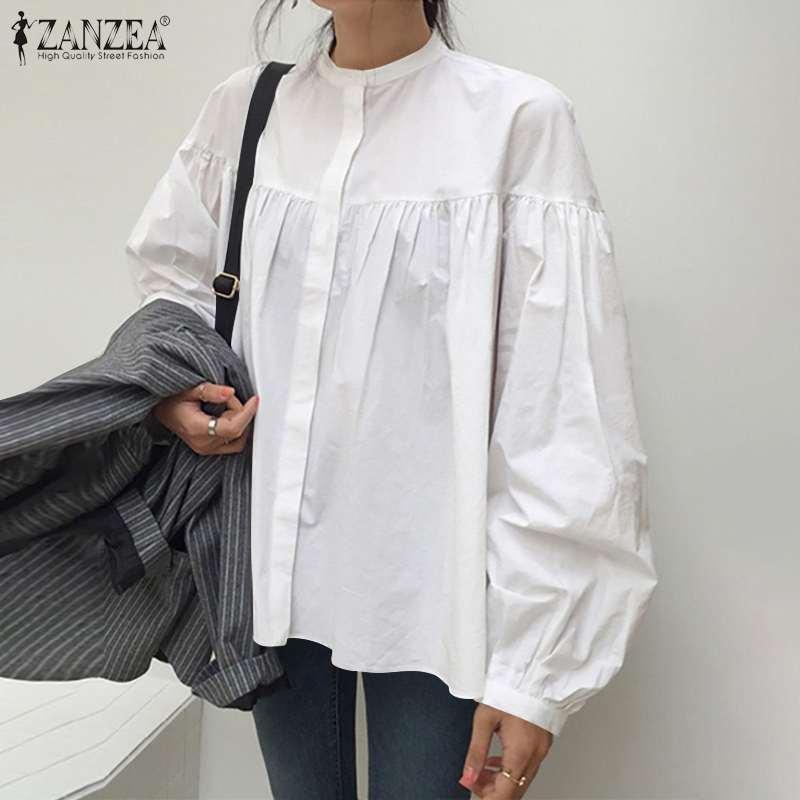 ZANZEA elegante camisa de trabajo elegante mujeres otoño largo soplo manga blusa tops flojos más tamaño marimita blusas sólidas femininas