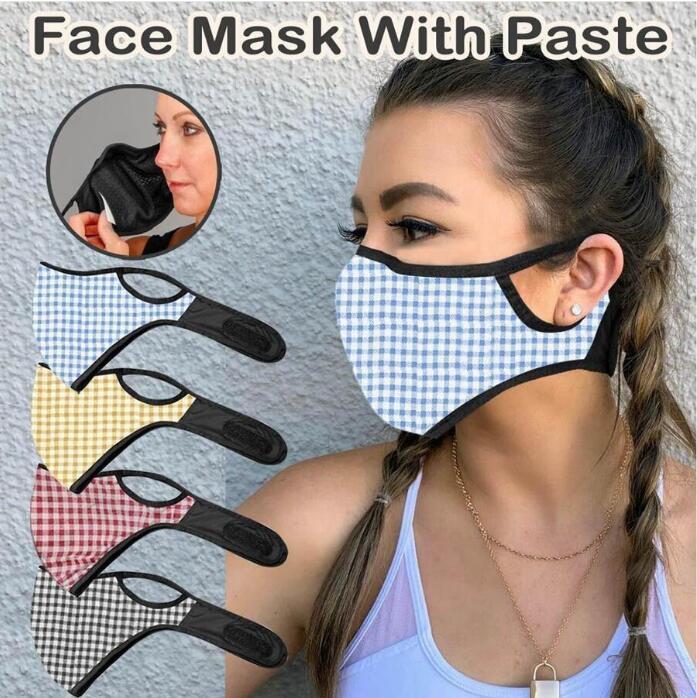 디자이너 격자 무늬 인쇄 얼굴 마스크 PM2.5 필터 붙여 넣기 유니섹스 성인 통기성 입 커버 야외 방풍 방진 사이클링 마스크