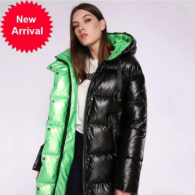 Aorryvla Yeni Bayan Kalın Sıcak Uzun Puffer Ceket Pamuk Kadın Parkas Rahat Moda Kış Ceket Kadın Kapşonlu 2020