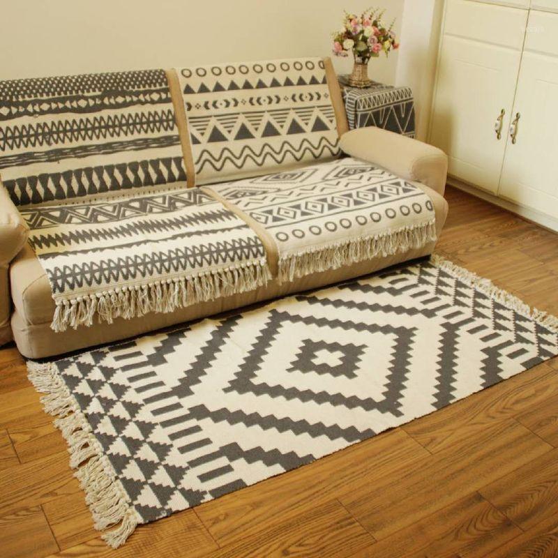Marruecos Black White Cotton Mano Tejido Mapa para la sala de estar / dormitorio / cocina / pasillo, Máquina duradera Lavable Tassels Area alfombras MAT1