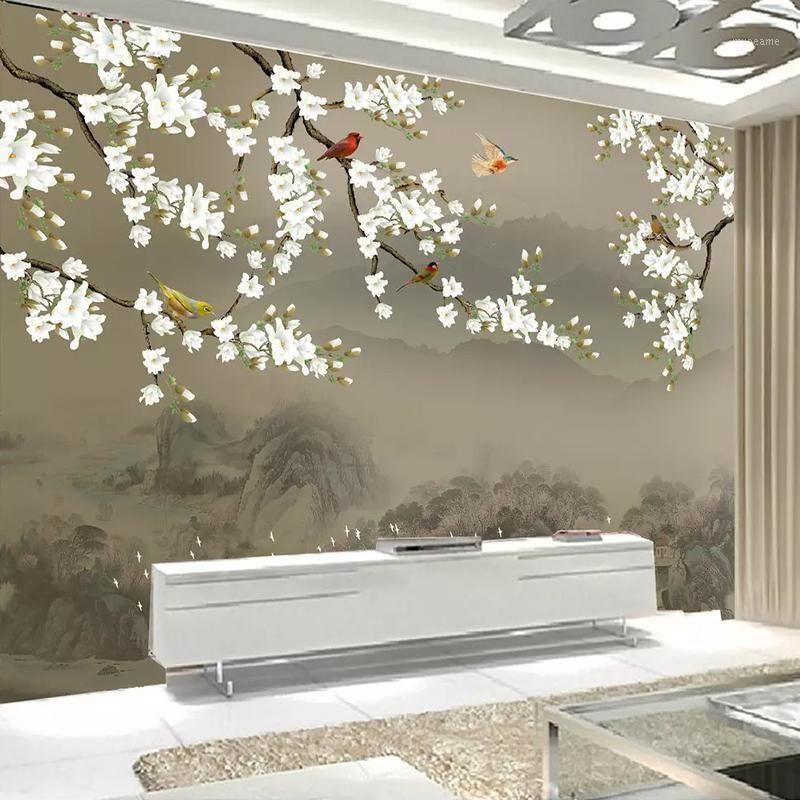 Envío de gota Papel tapiz con foto 3D personalizada para paredes de dormitorio pintado a mano clásico Magnolia Flower Bird Fondo de fondo de pared Mural1