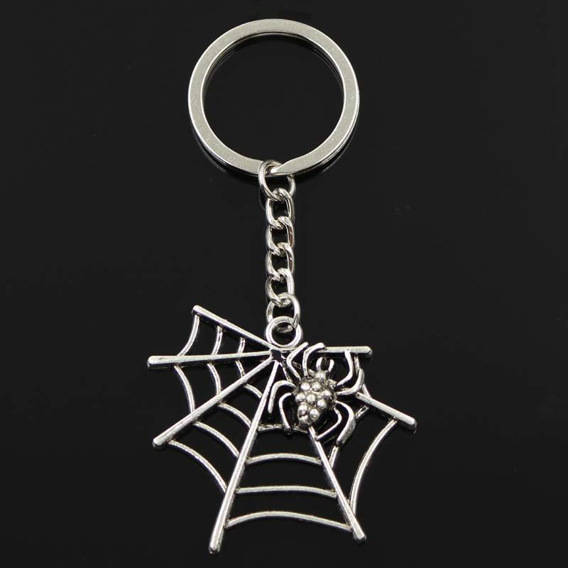 Moda Örümcek CobiWeb 43x45mm Kolye 30mm Anahtarlık Metal Zincir Gümüş Renk Erkekler Araba Hediye Hatıra Eşyası Anahtarlık Dropshipping