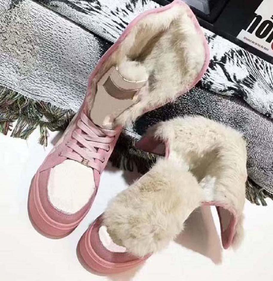 Kadınlar Yüksek Kaliteli Çizmeler Kar Botları Kürk Bir Ayakkabı Rahat Ayakkabılar Kış Moda Çizmeler Perçin Kutusu Ile Sıcak Ayakkabı Tutun AB: 35-42 02