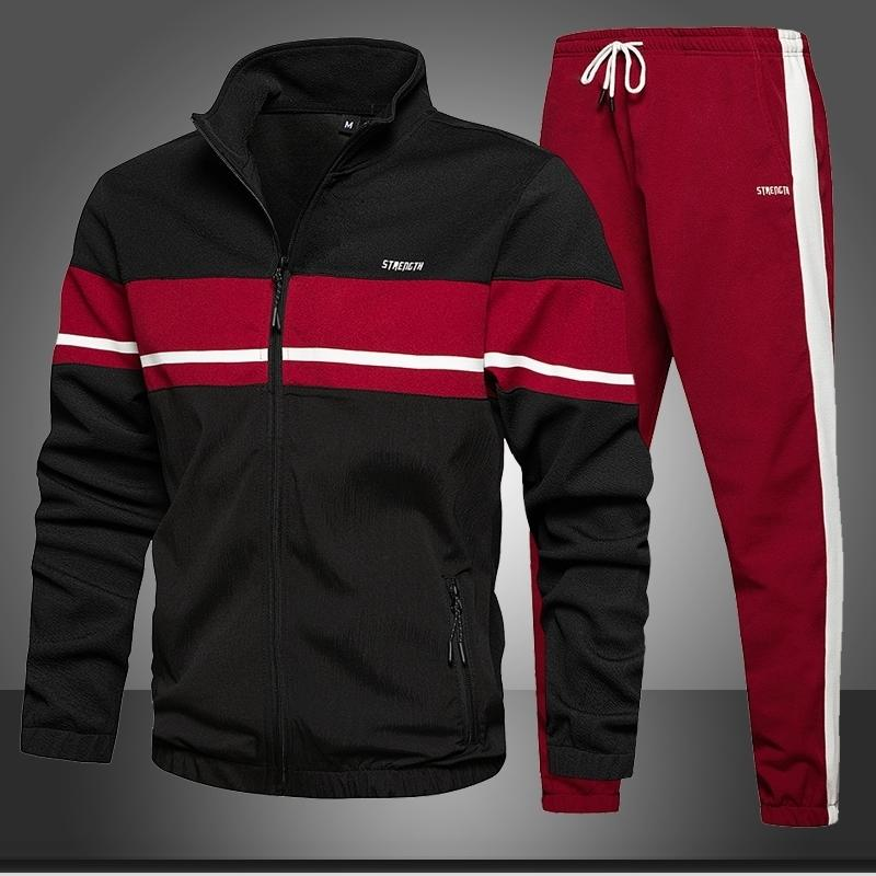 Erkekler Eşofman Setleri Sonbahar Yeni Jogger Eşofman Fermuar Hoodies + Sweatpants 2 ADET Setleri erkek Spor Spor Takım Elbise Giyim 201207