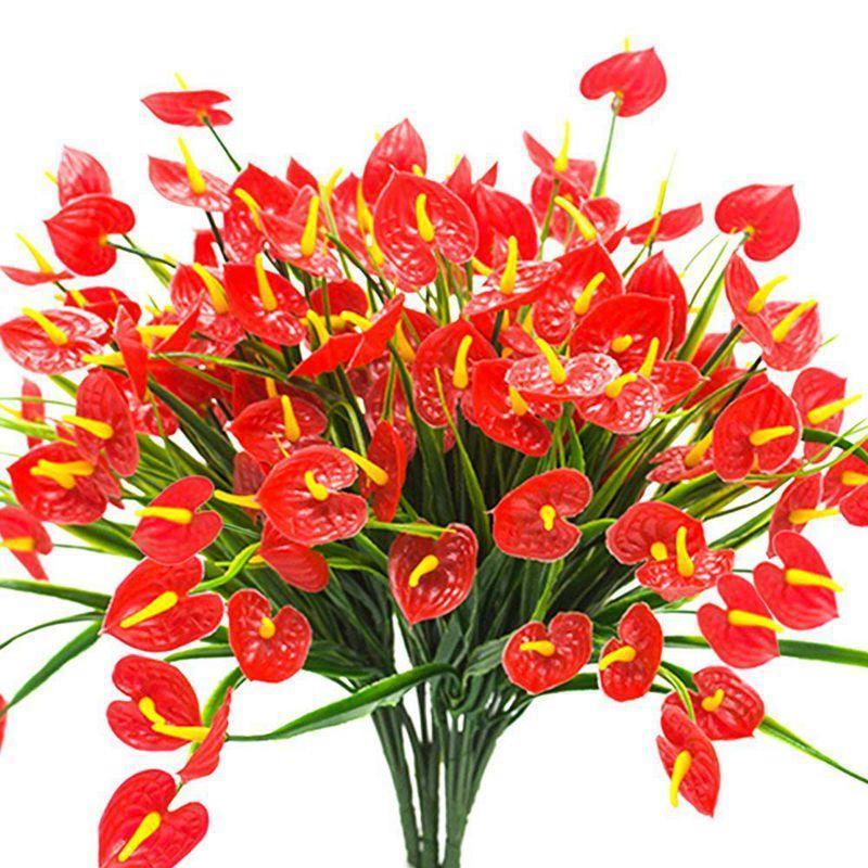 4 racimos artificiales flores falsas faux anthurium plantas arbustos de plástico arbustos vegetales interiores exteriores colgando plantador decoración del hogar