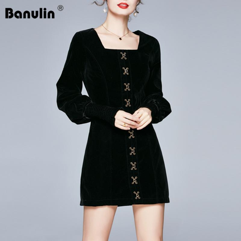 Banulin 2020 novos inverno mulheres Outono Lantern manga longa Runway mini vestido de moda de veludo botão do vintage vestido curto chique