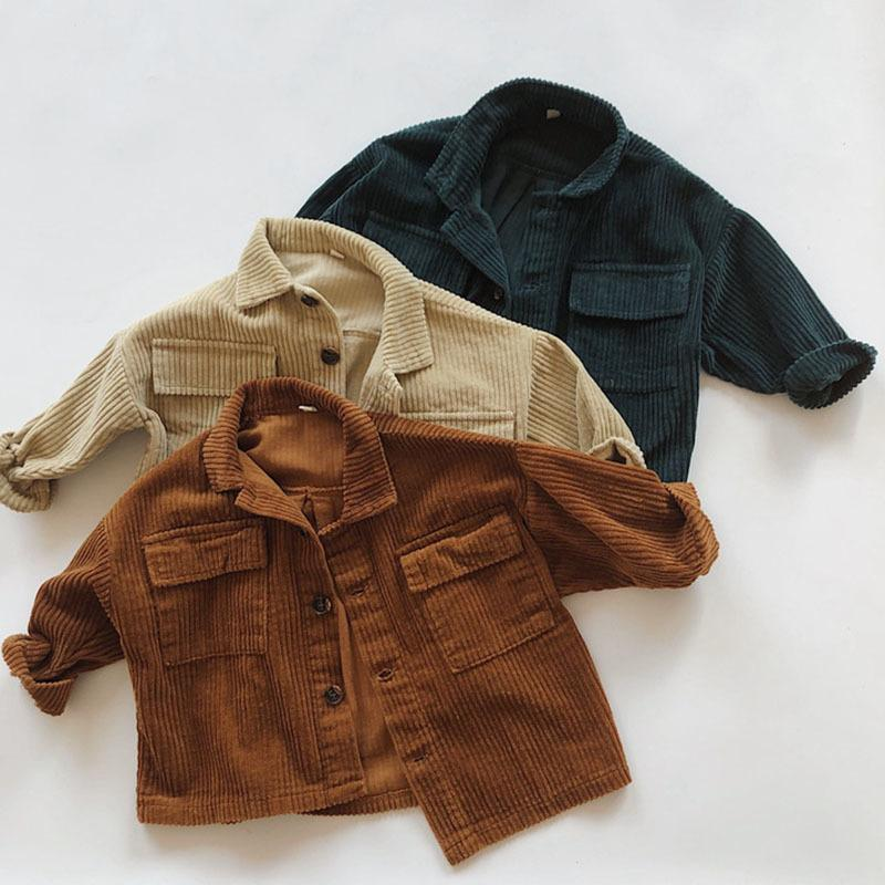Осень зима детские мальчики девочки вельверу кардиган пальто детская одежда ребёнок девушка с длинным рукавом дети кардиган пальто 1-6yrs 201126