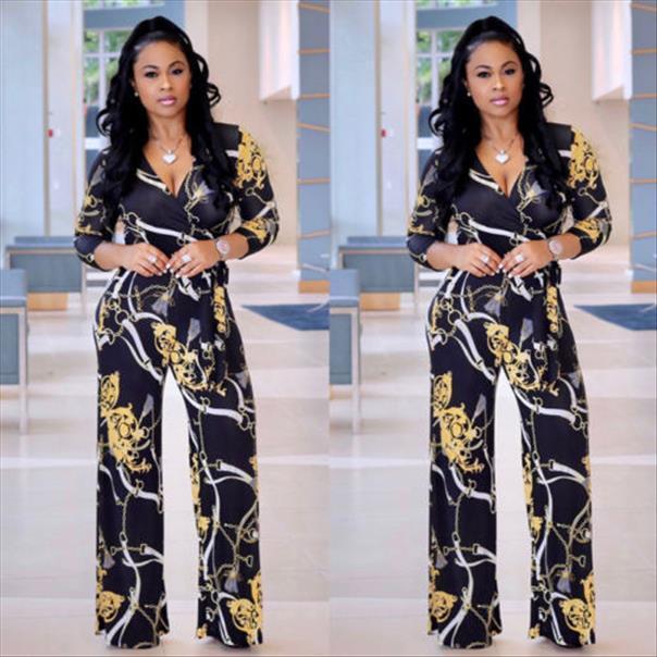 Новая мода женская с длинным рукавом Clubwear Paysite Floral Party Pumpsuit Chiffon длинные комбинезоны падение Доставка хорошего качества