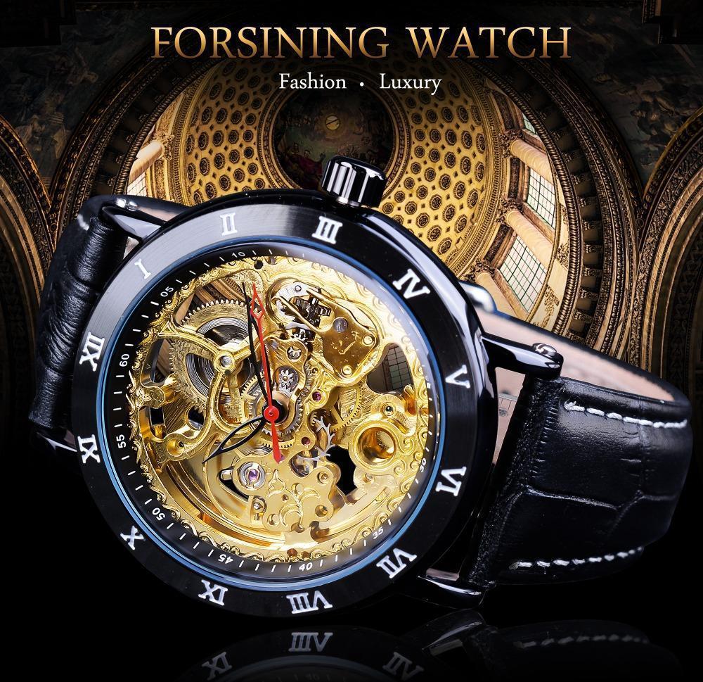 Fassing Retro Blume Design Classic Black Golden Uhr Echtes Leder Band Wasserbeständige Männer Mechanische Automatikuhren Männer Watche