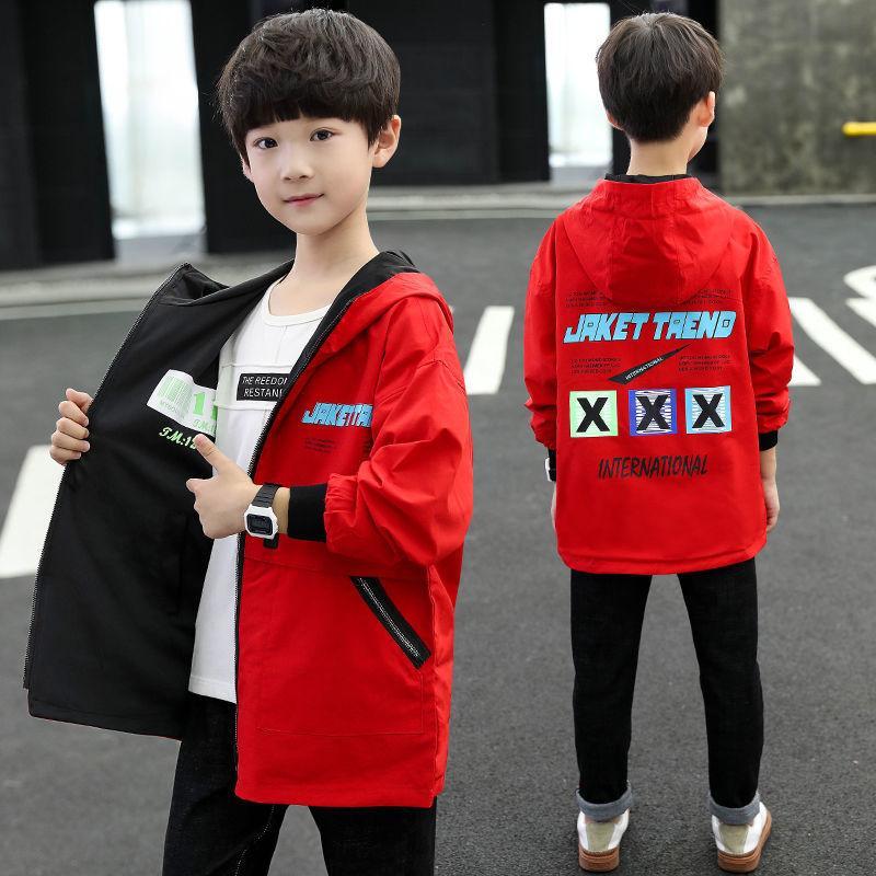 Vêtements pour garçons printemps et veste 2020 Automne Nouveau style pour enfants Big Boy Casual capuche double face Windbr