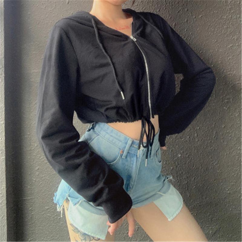Дамы пупок сексуальные куртки с капюшоном мода тенденция с длинным рукавом молния короткие пуловерные пальто дизайнер женский весна новая повседневная стройная верхняя одежда