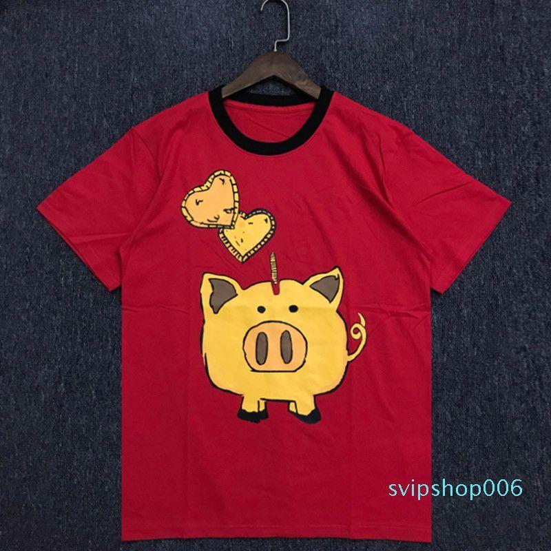 Moda de verano Nuevas camisetas para hombre hombres mujeres de alta calidad algodón mangas cortas parejas impresión de cerdo t shirt ss-2xl