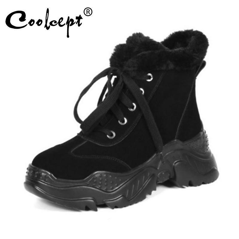 Ботинки Creamcept Женщины Натуральная Кожа Лодыжка Плюшевая Мех Толстая подошва Сравнительная Удобная Обувь Женщина Крест Ремешок Обувь Размер 33-40