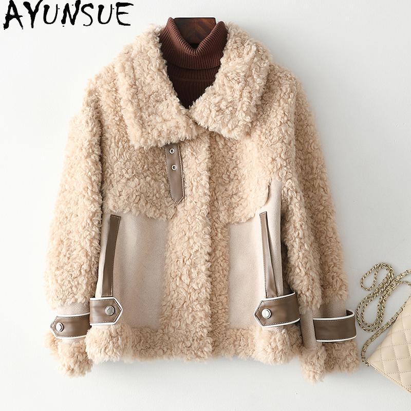 Ayunsue Real Fur Coat Giacca Femminile Autunno Inverno Vestiti Donne Vestiti Brevi Giacche di pelliccia di lana coreana per le donne 2020 KJ6339