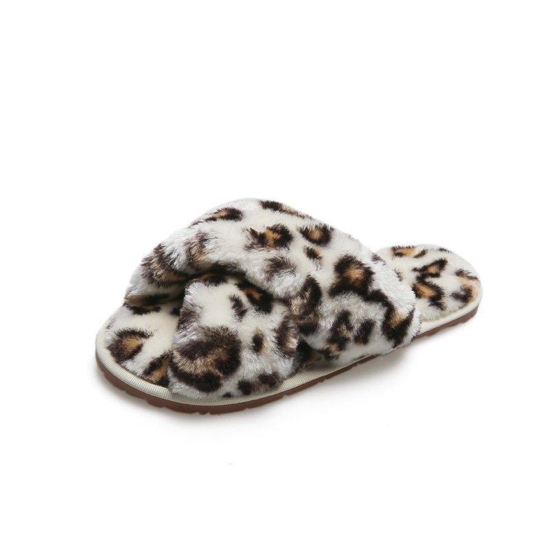 Девушка пушистые тапочки дети нечеткие тапочки слайд сандалии леопардовый галстук краситель кросс-полоса плюшевые открытые ноги скольжения домашний дом спальня тапочки DHF3240