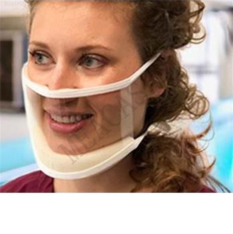 Face Máscara Visível Moda Escudo Leia Leitura Leitura FaceMasks com Esponja Pads Anti-Squeeze Máscaras Boca Capa Para Surdo Mudo D81003