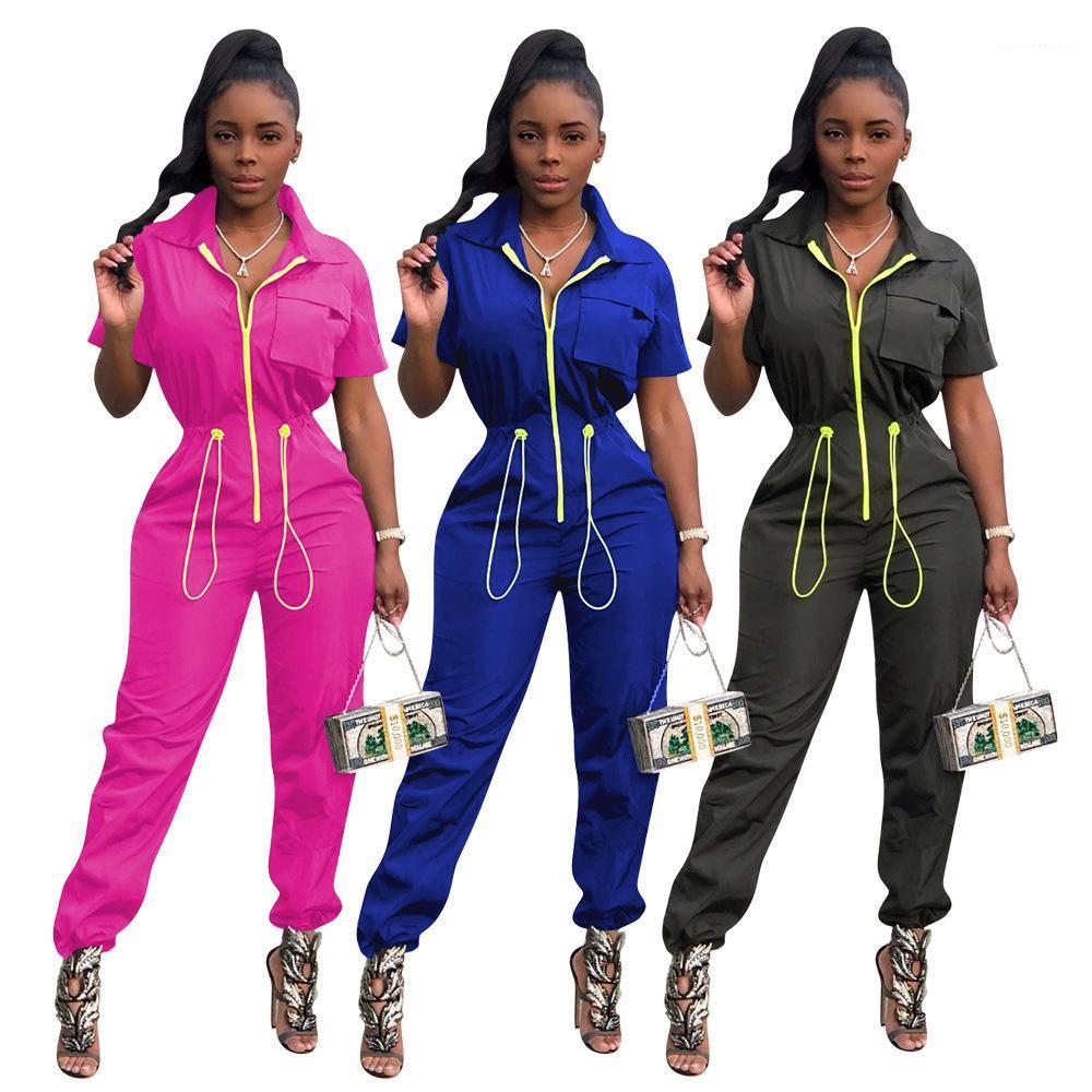 Lässige weibliche Kleidung Damen Designer Jumpsuits Sommer Kurzarm V-Ausschnitt Reißverschluss Elastische Band Strampler Mode