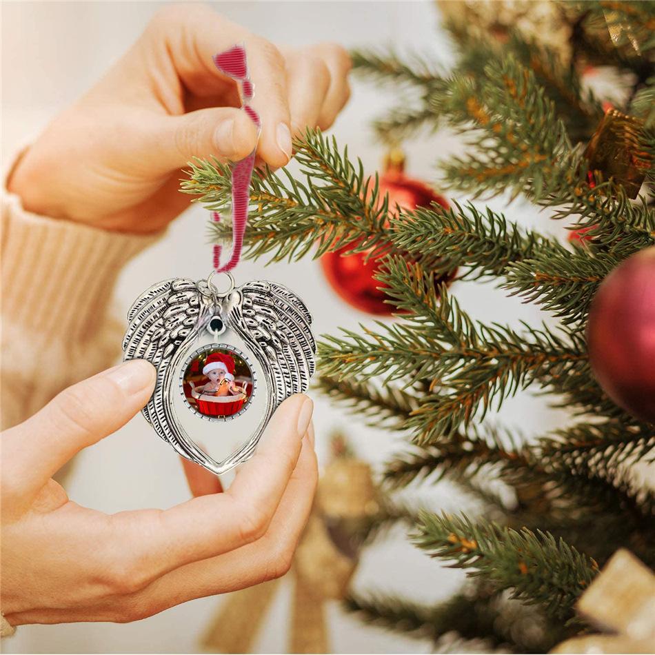 Ornamento novo Sublimação Blanks Natal Decorações asas do anjo Forma em branco Adicione seu próprio imagem