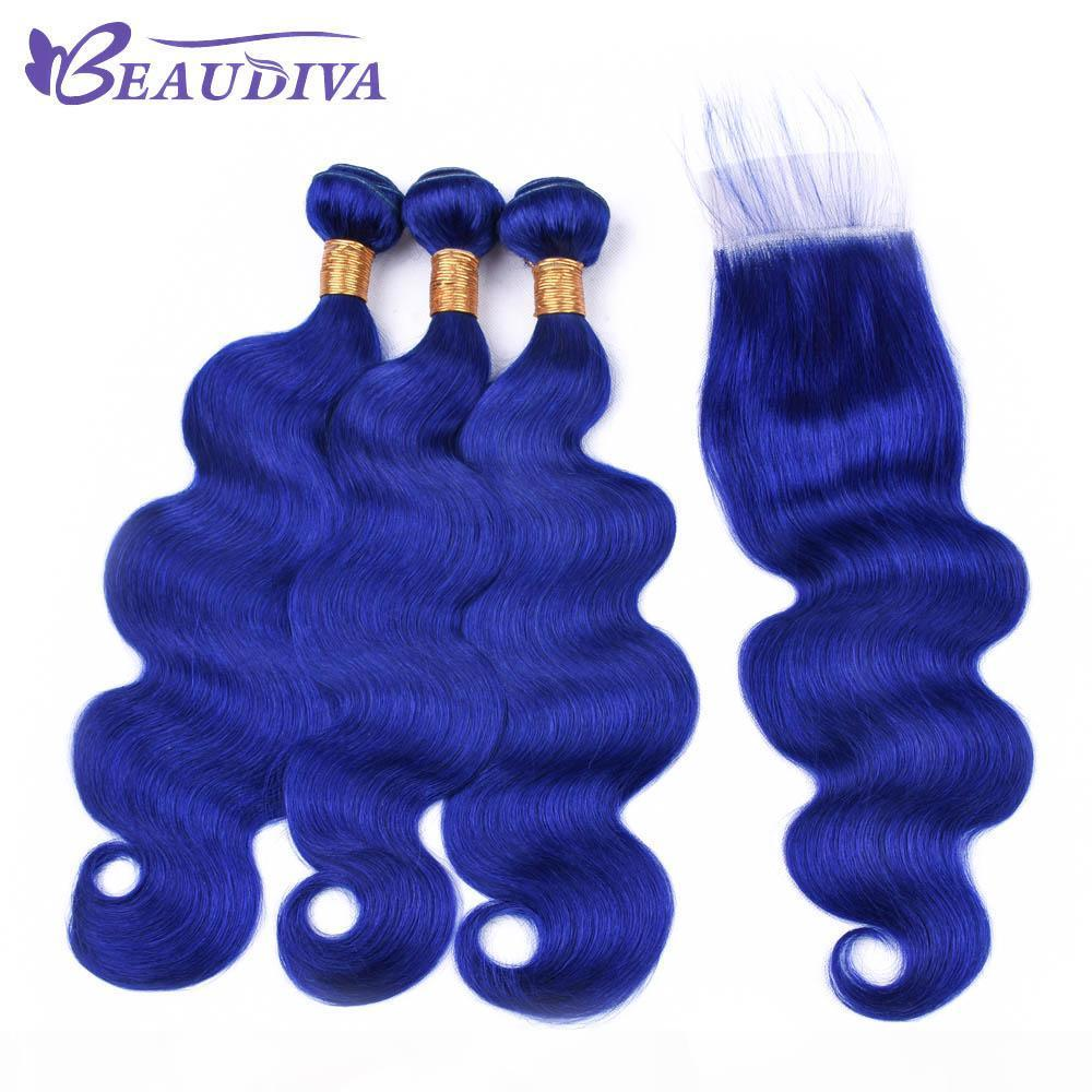 Beau Diva Blue Hair Body Wave Bundles With Lace Closure Brazilian Hair With Closure Remy Human Hair Bundles