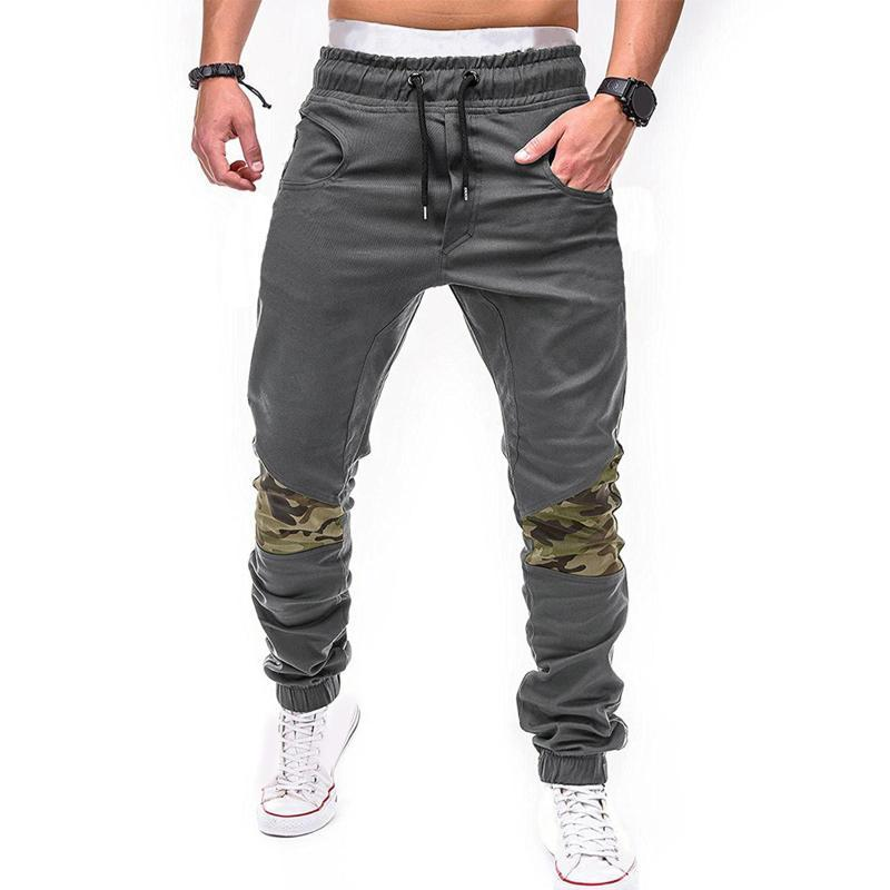 Men Casual Joggers Pants Thin Cargo Sweatpants Camouflage Patchwork Skinny Pants Drawstring Ankle Tied Sports Trousers Hip Hop