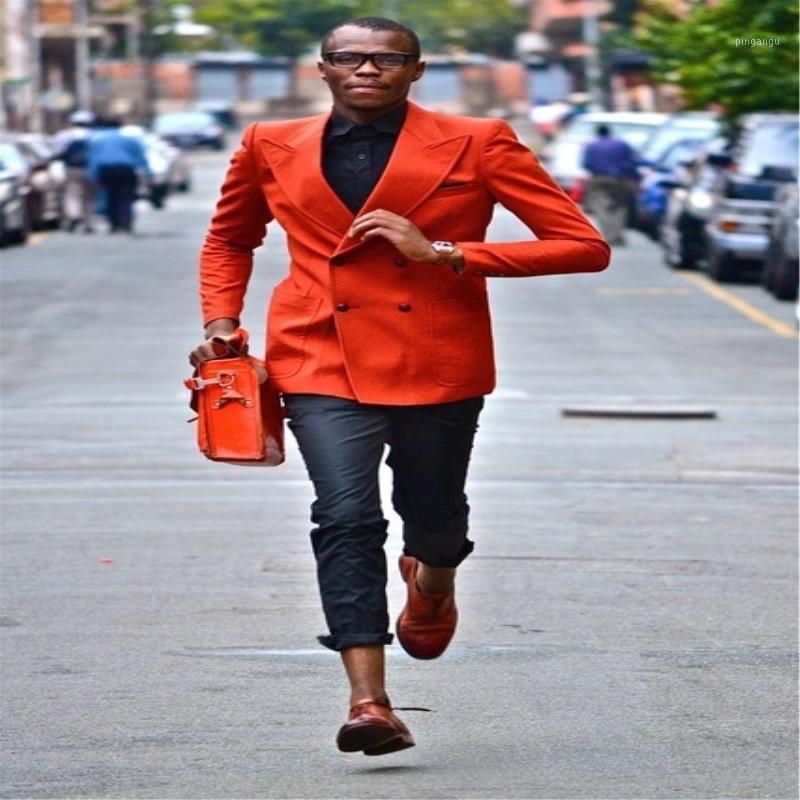 Мужские костюмы Blazers Custom Maste Maste Design A Orange Mens Casual Wedding Prom Groom Terno Masculino Blazer для мужского платья 2 шт. (Куртка + Па