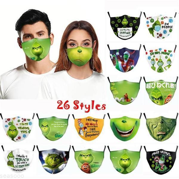 Cosplay 3D 26 estilos Imprimir Máscaras de Algodão de Algodão de Grinch Máscaras REUSABLE REUSABLE Lavável Pó Bonito Forma Adulto Máscara 2021 Ornamentsetoe