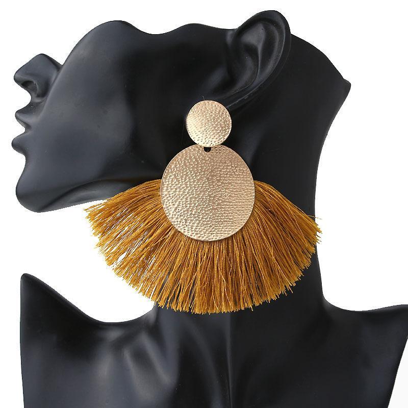شرابة أقراط للنساء بيان أزياء ZA 2019 بوهو كبير الذهب بومبوم قطرة مهدب فام أقراط