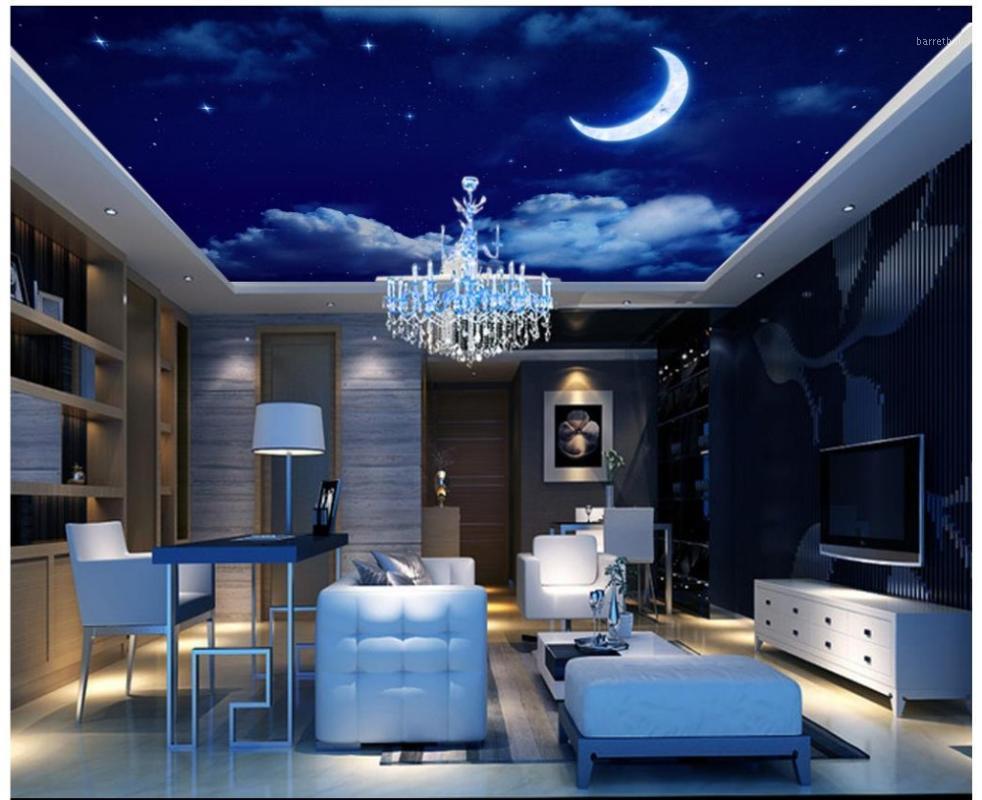 3d photo wallpaper custom 3d ceiling murals wallpaper Fantasy night sky star moon living room ceiling frescoes decor1
