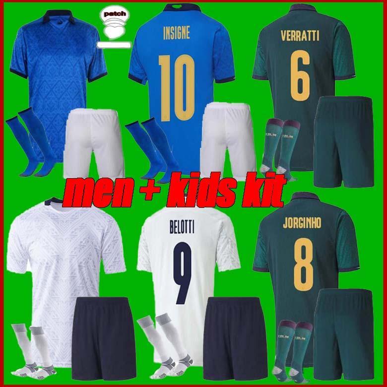 Erkekler + Çocuk Kiti 2021 İtalya Futbol Forması Barella Sensi Insigne 21 22 Avrupa Kupası Rönesans Chiellini Bernardeschi Futbol Gömlek