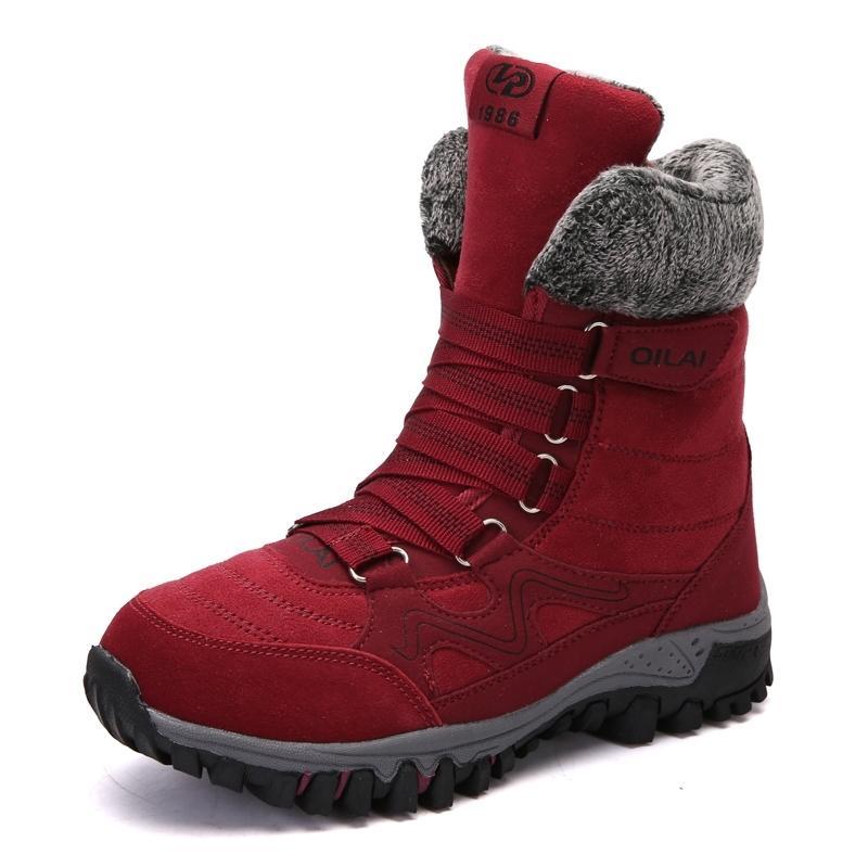 Nouvelles femmes Chaussures d'hiver en cuir de haute qualité en cuir de haute qualité Gardez des bottes de neige étanche chaudes Botas Mujer Y200115