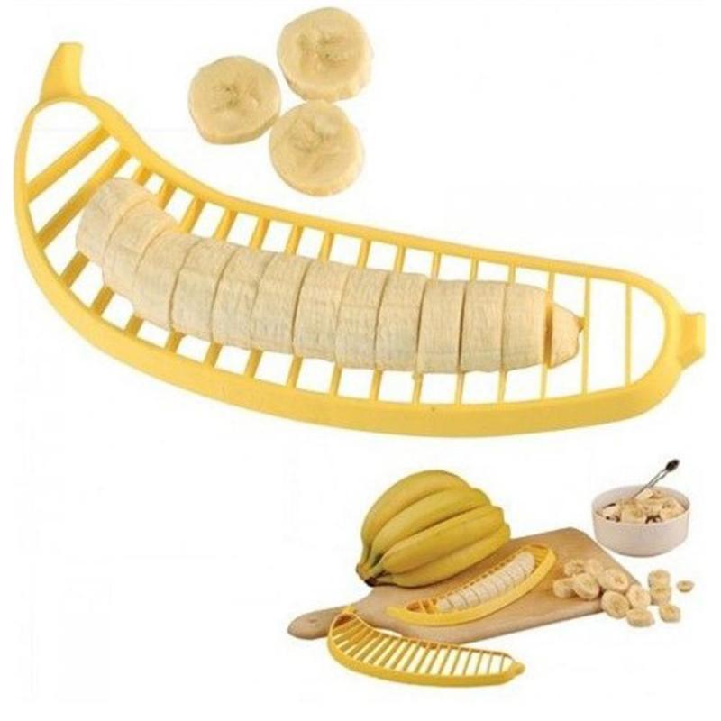 Plátano de plástico cortador cortador Herramientas de fruta Herramientas de ensalada Herramientas de cocina Practica Slicer Cutterl Cocina Gadgets Dropshiping