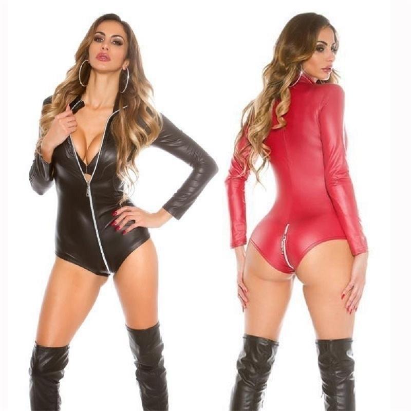Sexy Wetlook Bodysuit Frauen Latex Catsuit Kunstleder Jumpsuit Langarm Reißverschluss Schritt Fetisch Kostüme Erotische Körperanzug XXXL Y200904