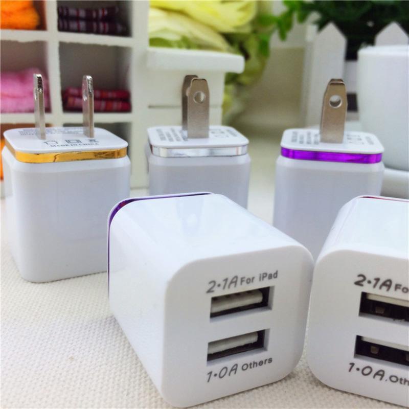 العالمي المزدوج USB شاحن شحن الولايات المتحدة التوصيل 2.1a AC محول الطاقة الجدار شاحن المكونات 2 منفذ لفون سامسونج اللوحي باد