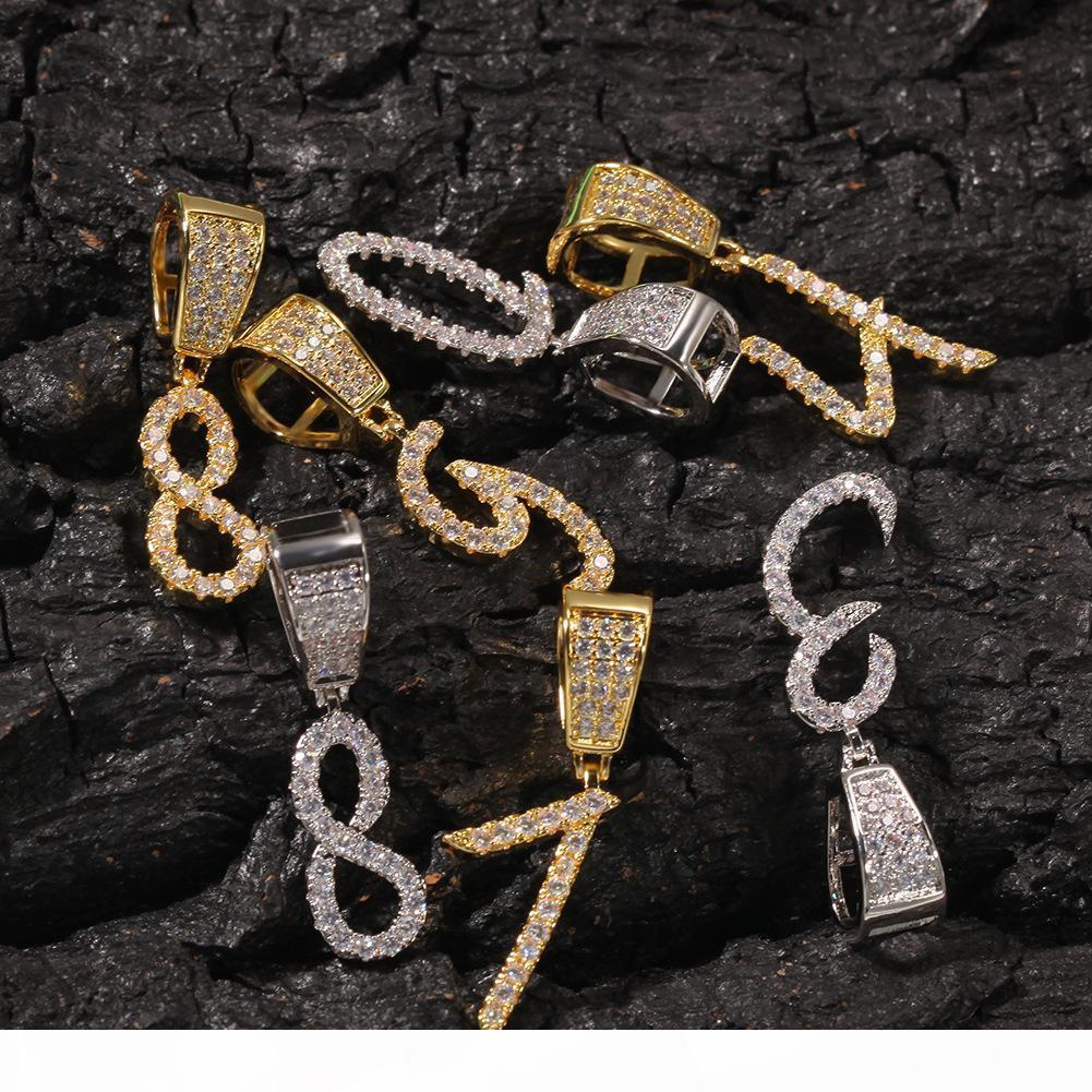 Nouvelle mode Personnalisé 18K Gold Bling Diamant Diamant 0-9 Numéros numériques Collier Pendentif Custom Sports Numéro de DIY bijoux pour couples