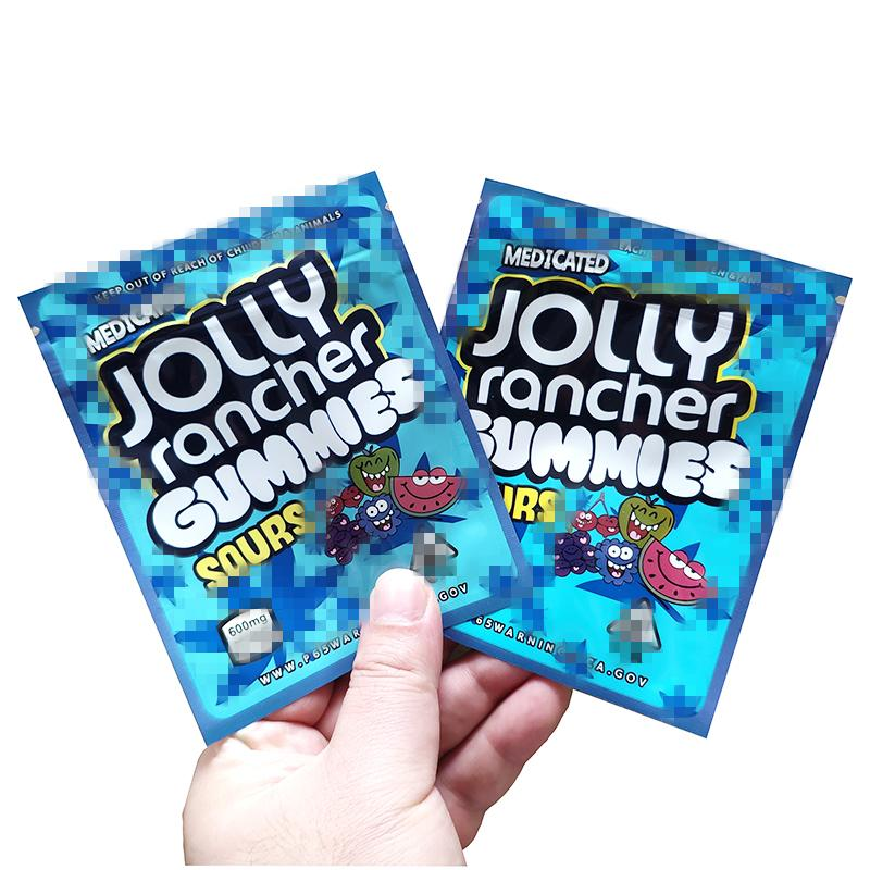 Stokta Jolly Rancher Gummies Mylar Çanta 600 mg Gıda Ambalaj Çanta İlaçlı Jolly Rancher Gummies Ekşi Kenarlıklar Kurabiye Mylar Çanta