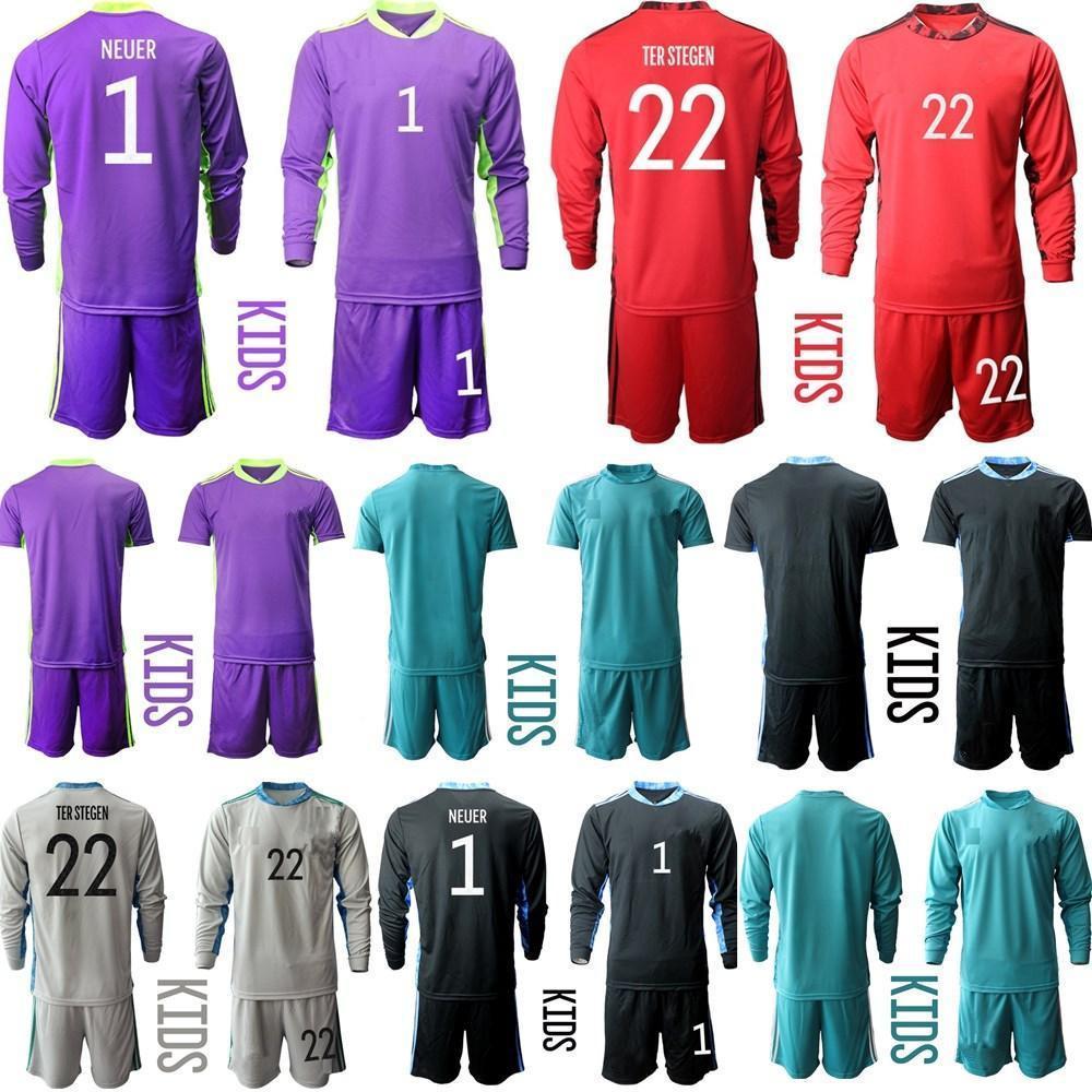 Novo 2020 Juventude Manga Longa Alemanha 1 Neuer Soccer Jersey 20 21 Conjunto Kit Kit Goleiro Gk Kit de Camisa de Futebol