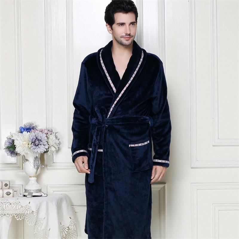 Новое поступление мужская зимняя одежда мужчина теплые длинные халаты комфортабельные дамские ванны халат одежды мужчины сплошной домашней одежды плюс размер 201109