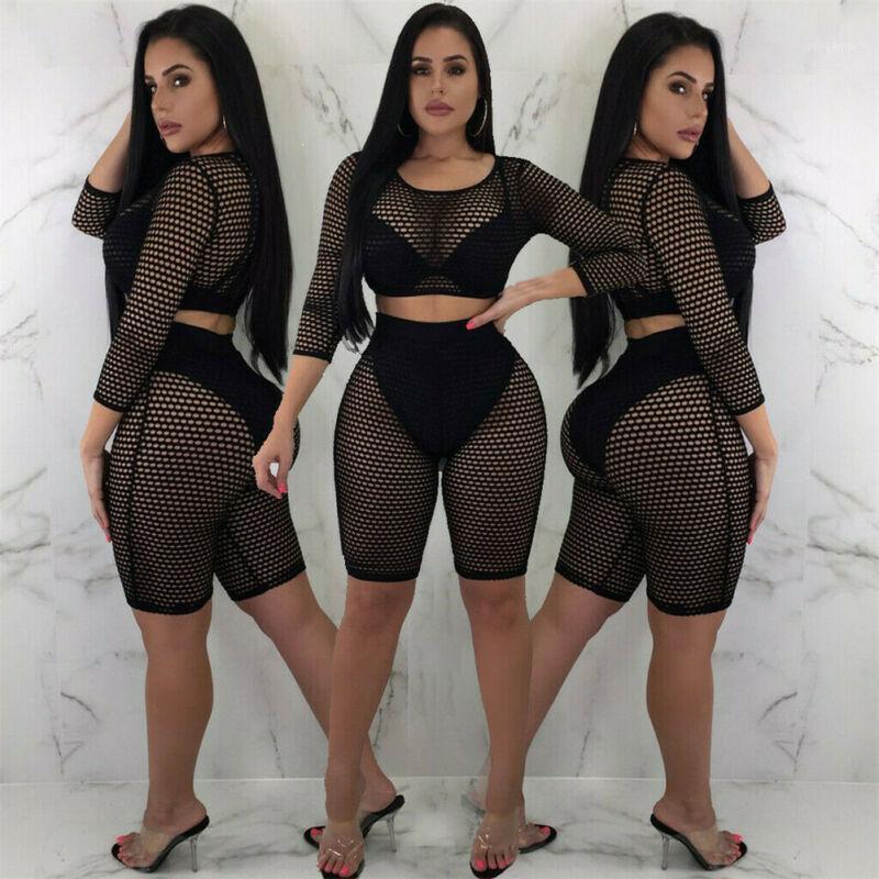 Fashion Donne Mesh Sheer Tuta Shorts Shorts Party Bodysuit Fishnet Romper Clubwear1