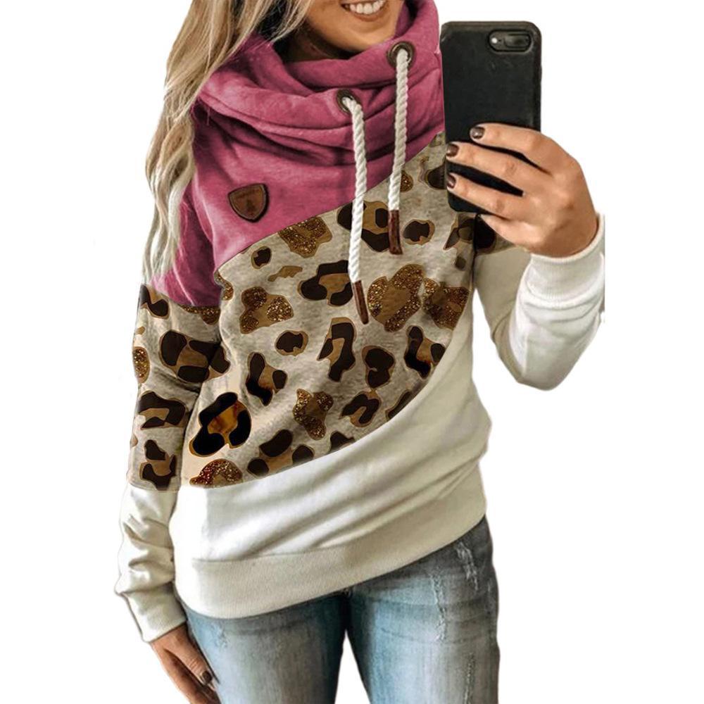 2020 Europa und Amerika Cross Border Handel Herbst und Winter Neue Womens Kleidung Spleißen Mit Kapuze Fleece Lose Pullover