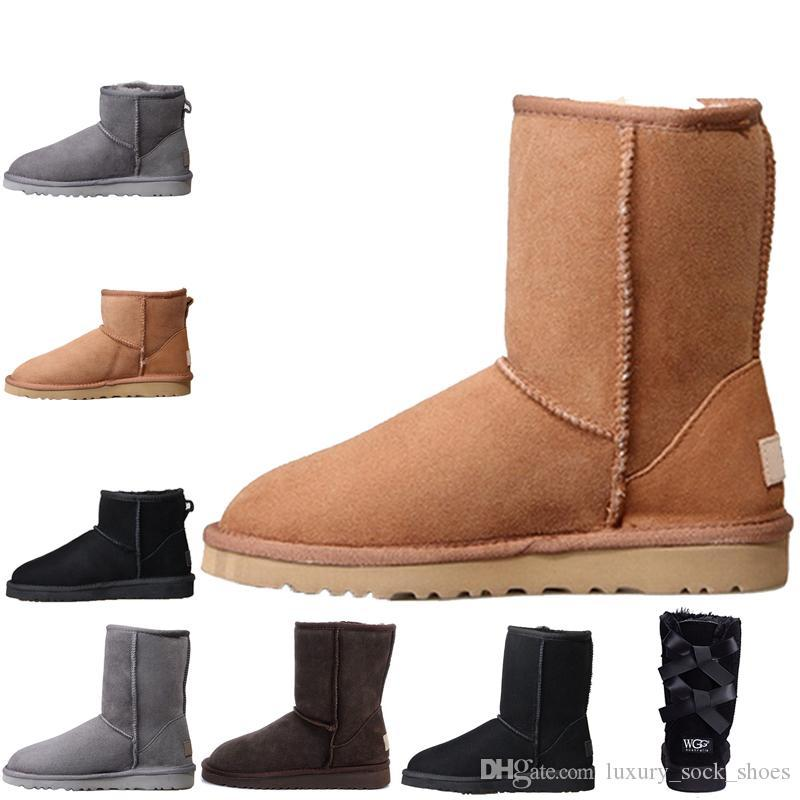 Wholesale Womens Knee chestnut Boots ankle bow Triple Black Grey pink Boots Winter Snow knee chestnut black Boot shoes 36-45