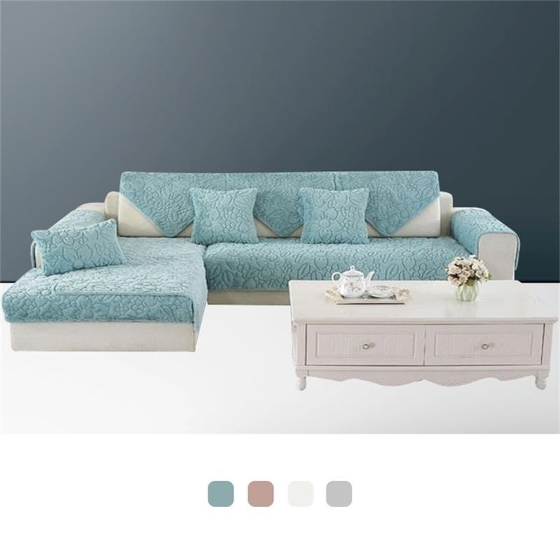 Плюшевая ткань диван подушка подушки сиденья чехол чехол безрукий диван полотенце листовой диван стеганая нескользящая крышка зима для гостиной LJ201216
