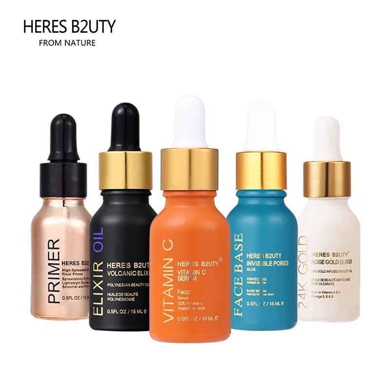 هيريس B2UTY 24K الذهب Elixir الضروري النفط الذهب التمهيدي فيتامين ج الوجه قاعدة مرطب المغذيات سطع التشاغل التمهيدي