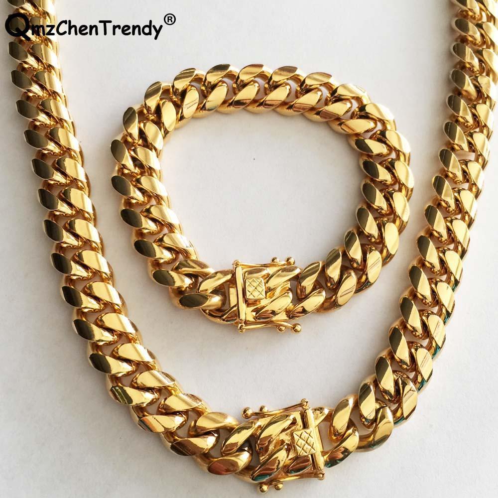 14 ملليمتر الرجال ميامي كوبا رابط سلسلة قلادة أساور 316l الفولاذ المقاوم للصدأ دارجون المشبك الذهب لهجة الهيب هوب الثقيلة سلسلة مجوهرات مجموعة