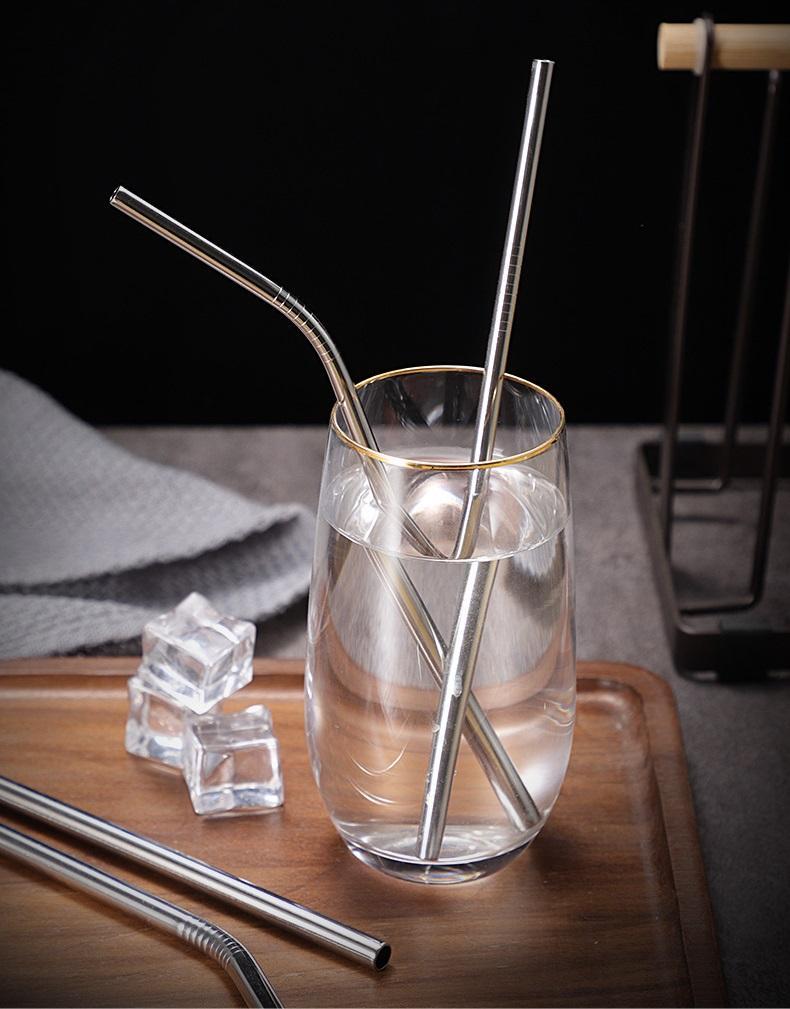 Acier inoxydable durable droit buvant de paille de paille de paille de paille paillettes bar familiale cuisine pour la bière fruit jus de fruits boissons accessoires WB3308