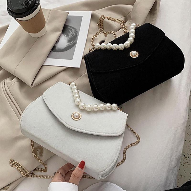 Элегантная бархатная жемчужная цепь женщин 77625 партия мода сумка сумка сумки поперечины сумка на плечо женские ckoqg